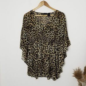 INC International Concepts | Bat Wing Leopard Top